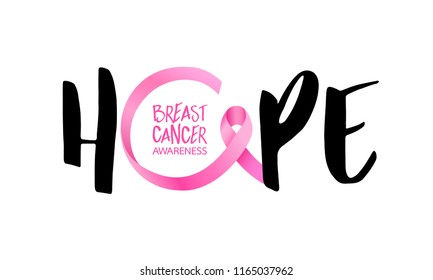 Hope lettering design with Pink ribbon. Breast cancer awareness concept. Vector illustration isolated on white background.