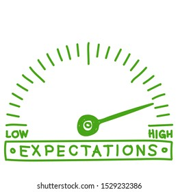 hope meter - high expectations  monitoring  scale -  hand drawn illustration