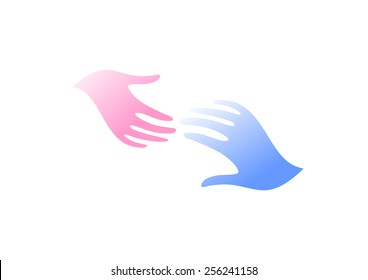 Hope or parting. Man and woman hands logo. Pink and blue color. Care symbol.