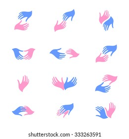 Hope or parting. Man and woman hands. Vector illustration. Logo. Pink and blue.