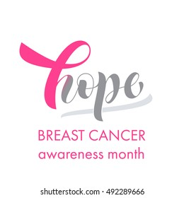 Hope pink ribbon symbol for Breast Cancer Awareness October Month. Vector pink ribbon icon