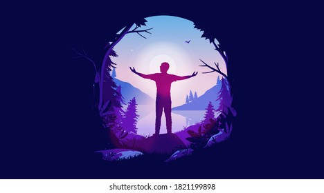Hope - Positive illustration of man enjoying freedom and fresh air. Visiting nature, opening up opportunities, seeking a happy life and welcoming tomorrow. Oval frame and vector format.