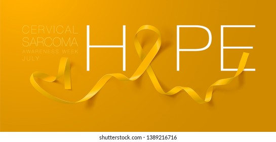 Hope. Sarcoma and Bone Cancer Awareness Calligraphy Poster Design. Realistic Yellow Ribbon. July is Cancer Awareness Month. Vector