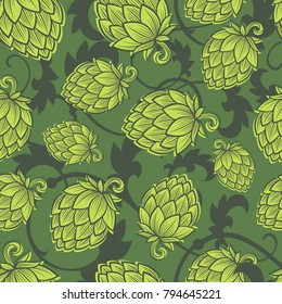 Hope seamless pattern. Hop cone background. Craft Beer wallpaper. Engraving hop cones.