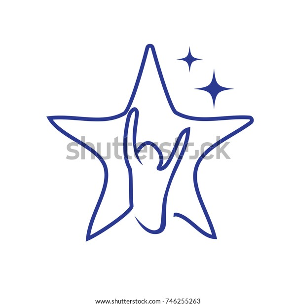 hope star logo, person raises his hands in outline of star, star logo, hope logo, isolated on white background.