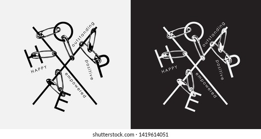 hope typography slogan holding by safety pin illustration