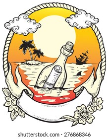 Hope. Vector illustration of the bottle with a letter inside, thrown into the ocean in the hope of salvation.
