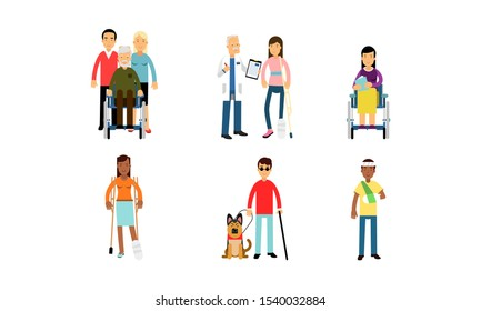 Hopeful Disabled People On Crutches And Wheelchairs Are Living A Normal Life Vector Illustration Set Isolated On White Background