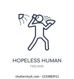 hopeless human icon. hopeless human linear symbol design from Feelings collection. Simple outline element vector illustration on white background.