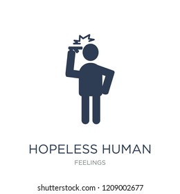 hopeless human icon. Trendy flat vector hopeless human icon on white background from Feelings collection, vector illustration can be use for web and mobile, eps10