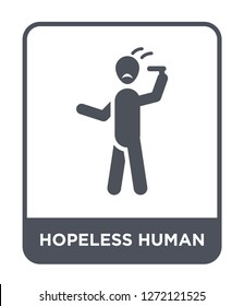 hopeless human icon vector on white background, hopeless human trendy filled icons from Feelings collection, hopeless human simple element illustration