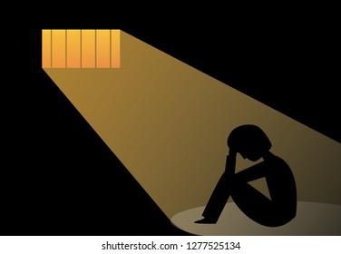 Hopeless man in prison, vector art