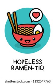 Hopeless Ramentic Ramen Bowl Pun Poster Vector Illustration in Flat Style Line Art