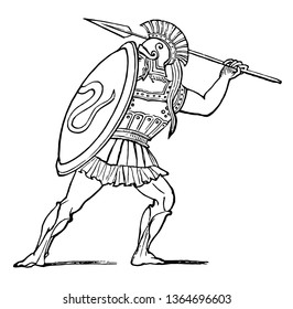 A hoplite drawing his spear, vintage line drawing or engraving illustration.