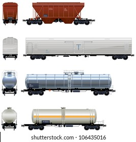 Hopper Car, Refrigerator Car, Tanks (Train #3). Pixel optimized. Elements are in the separate layers. In the side, back and front views.