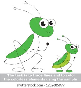Hopper insect. Dot to dot educational game for kids.