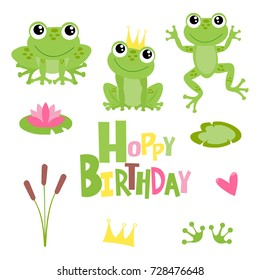 Hoppy birthday frogs illustrations