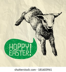 Hoppy Easter! - easter illustration card with hand drawn jumping lamb and bubble speech on crumpled paper background