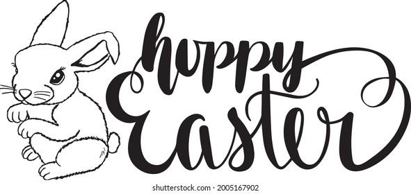 Hoppy Easter Quote Rabbit Vector