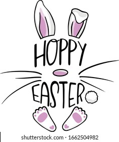 Hoppy Easter Text Greeting with Pink and White Floppy Easter Bunny Rabbit Ears, White Cottontail, and Pink and White Bunny Feet, Vector Cartoon Illustration for Easter and Spring
