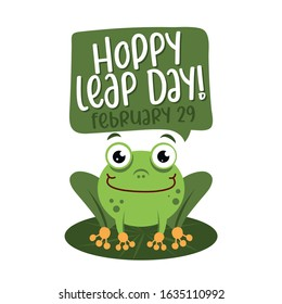 Hoppy leap day - leap year 29 February calendar page with cute frog. Background Leap day leap year 29 February calendar and froggy illustration vector graphic.