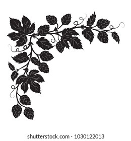 Hops cones and flowers with leaves, hand drawn vector silhouette corner