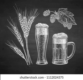 Hops, malt, beer glass and beer mug. Chalk sketch on blackboard background. Hand drawn vector illustration. Retro style.