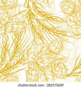 hops and malt vintage seamless pattern