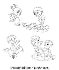 Hopscotch. Boy riding on the spring rocking-horse. Children ride on small carousel  in recreation park. Playground. Kids zone. Place for games. Funny cartoon character. Coloring book