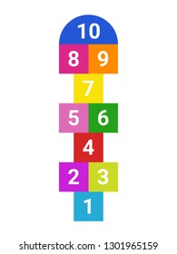 Hopscotch. Children's game 'classes' colored with numbers