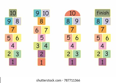 hopscotch game illustration in colorful. letters and numbers fun child game background