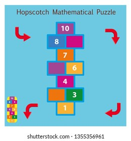 Hopscotch Methematical Puzzle - Vektör