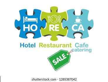 HoReCa service puzzle - Hotel business vector icon