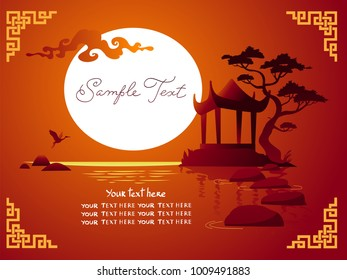 Horisontal asian landscape with traditional architecture, sunset, crane and lake. Vector background.
