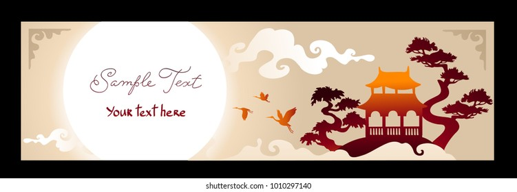 Horisontal banner. Asian Landscape with traditional architecture, sunset, crane and lake