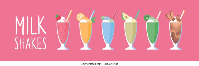Horisontal banner with milkshakes. Vector illustration.
