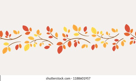 Horisontal border vector autumn ornament. Seasonal decor element for web background, wallpaper, card design. Border graphic ornament of branches for fall decorations. The leaves of trees and shrubs.