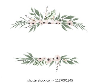 Horisontal botanical vector design banner. Pink rose, eucalyptus, succulents, flowers, greenery. Natural spring card or frame. All elements are isolated and editable