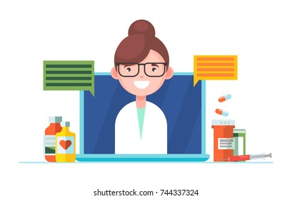 Horisontal the doctor. The nurse answers questions in the laptop. On the table Pills and medications and recipes. Vector flat illustration