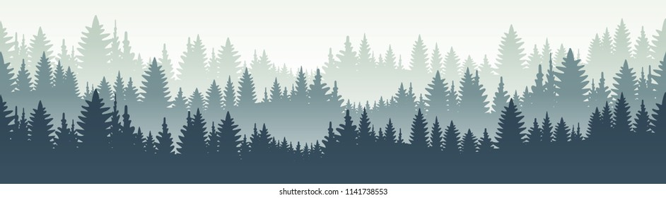 Horisontal forest landscape. Vector illustration. Layered trees background. Outdoor and hiking concept.