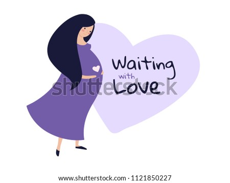 Horisontal pregnansy greeting card beautiful woman stock vector horisontal pregnansy greeting card with beautiful woman in long violet dress expecting a baby pregnant m4hsunfo