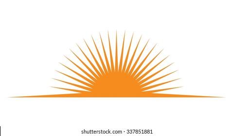 horizon and sun logo. vector icon.