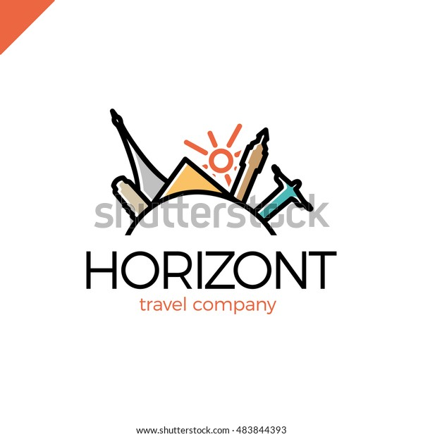 Horizont line travel, journey vector logo design template. world tourism country icon. Paris, Rio, Italy, London, Egypt and sun symbol