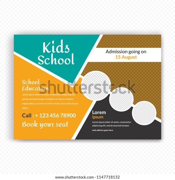 Horizontaal Back to school Flyer Design . Stranded sizes,Clean And Easily editable. Vector illustration. Eps 10