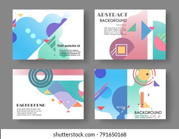 Horizontal A4 Modern abstract covers set. Geometric shapes composition. Eps10 vector.