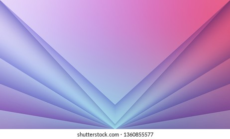 Horizontal abstract background with 3D paper layers effect. V-shape pattern. Wallpaper template is 16:9 aspect ratio. Backdrop is soft pink to light blue gradient. Vector illustration.