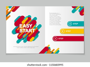 Horizontal abstract background with rounded stripe shapes and copy space. Paper cut modern design in vibrant colors. Template of brochure, flyer, poster. Vector illustration.