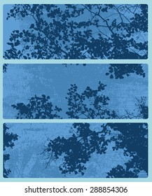 horizontal abstract banners with tree and branches silhouette. vector illustration.