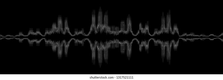 horizontal abstract black and white sound wave design for pattern and background.
