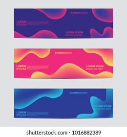 Horizontal abstract blur banner. Modern abstract backgrounds. Colorful fluid cover for poster, banner, flyer and presentation.  Gradient holographic set. Trendy soft color.